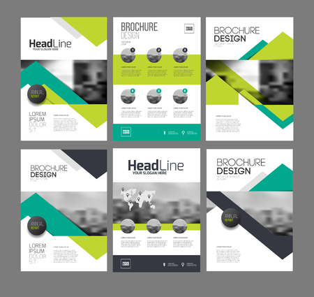 Company flyer vector illustration set. Six Front page and back page template. vector in A4 size