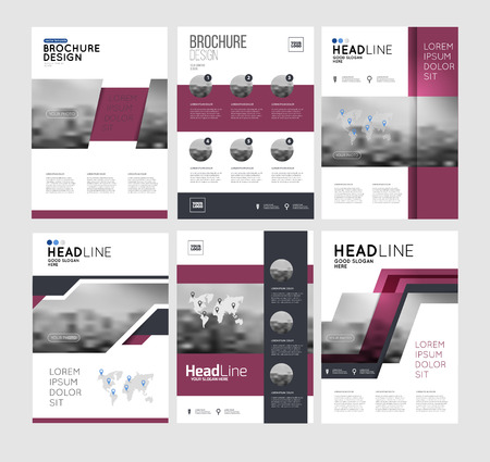 Six flyer marketing templates with photo, text and map. Sale Brochure layout vector set for business. Illustration