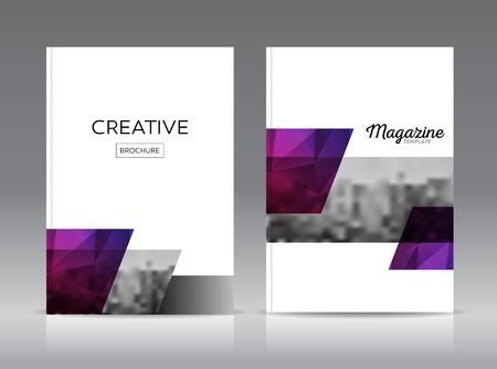 adverts: Magazine cover layout design template vector set. Annual report layout with photo place. illustration vector