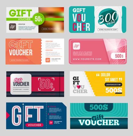 restaurant bill: Gift voucher certificate coupon design template set.