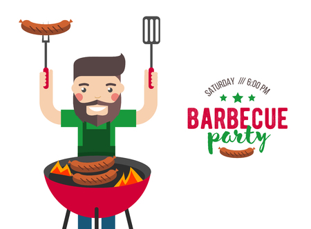 prepare: Barbecue party cartoon people for flyer or invite card.