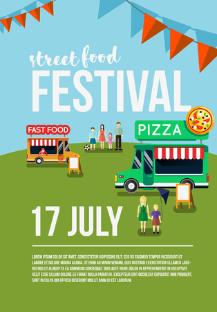 cookout: Food truck festival event flyer, street food poster. Food market Vector illustration.