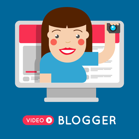 Fashion Video blogger girl broadcasting on personal channel flat style concept. Smiling vlogger girl.