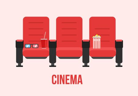 blockbuster: Red Cinema chairs vector illustration. Movie theater armchair with popcorn concept.