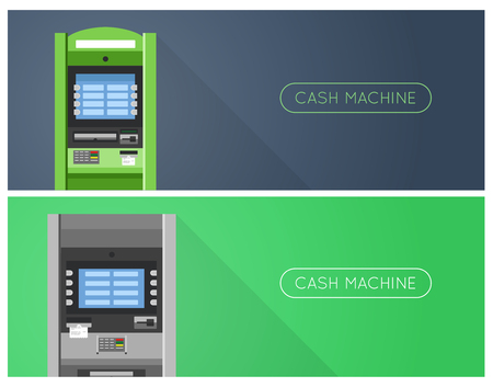 bankomat: ATM machine in bank or office banners.