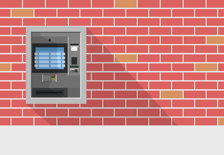 bankomat: ATM machine in bank or office vector concept.