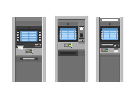 bankomat: ATM machines vector set in flat style. Bank terminal.