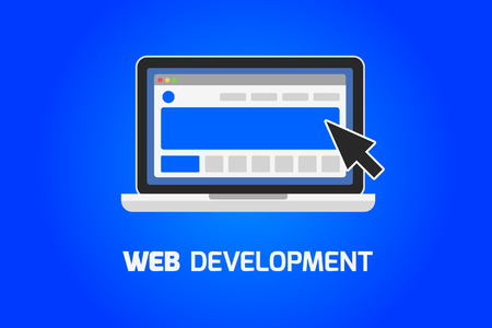 Web development laptop icon. Create website on computer concept.
