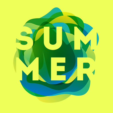 Colorful modern summer poster. Creative splash gradient illustration with text summer. Tropical bubble Illustration