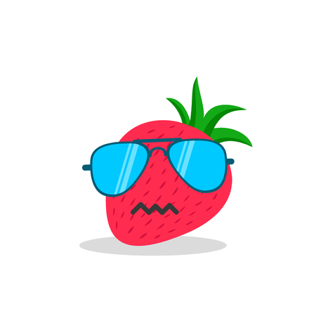 strawberry face cartoon with emotion