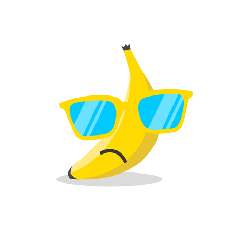 Banana face cartoon with emotion Ilustração