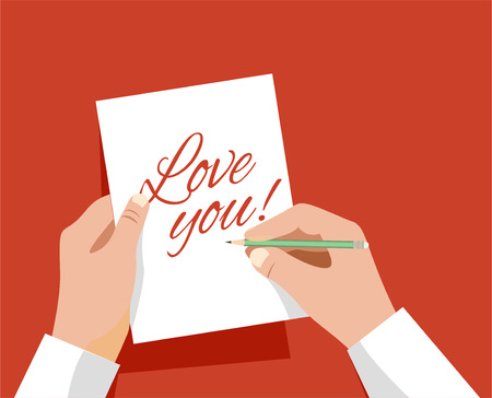 hand sign a card that says I love you vector illustration