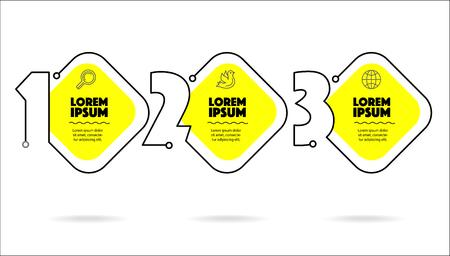 Business-Infografik-Vorlage 3 Schritte mit Text für Website oder Präsentationsbroschüre