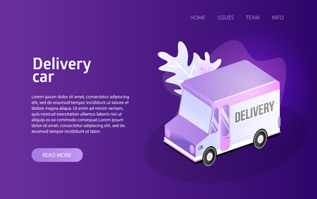 Delivery truck service landing isometric vector illustration concept 向量圖像