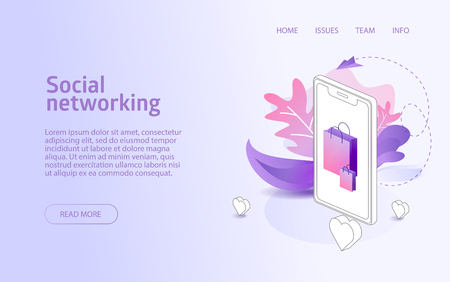 Online shop social network website landing or e-commerce isometric vector illustration concept