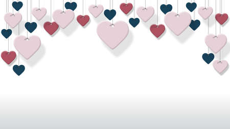Antecedentes de corazones de colores colgando con fondo blanco Fondo para el día de San Valentín Foto de archivo