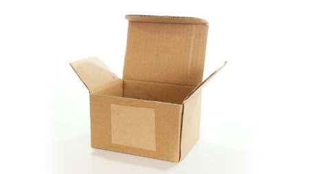corrugated cardboard: Open empty corrugated cardboard box on white background Stock Photo