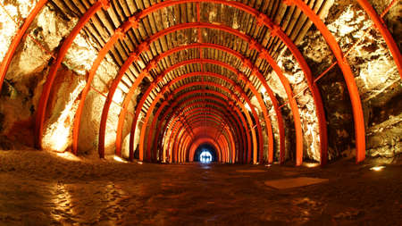Tunnel entrance to The Salt Cathedral of Zipaquira. This Cathedral is an underground Roman Catholic church built within the tunnels of a salt mine