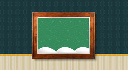 Wooden frame hanging in the middle of the wall with textured wallpaper - Picture with starry sky background with snow mountains Stock Photo