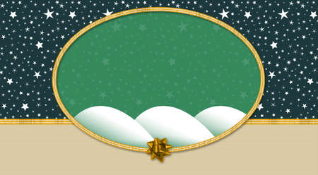 Starry night background with bow and ribbon oval frame in pastel colors for Christmas or gift wrap Stock Photo