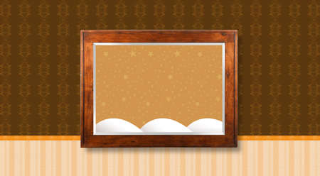 snow mountains: Wooden frame hanging in the middle of the wall with textured wallpaper - Picture with starry sky background with snow mountains Stock Photo