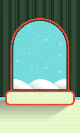 Wall with wallpaper and arched window frame with starry sky in the background in pastel colors for Christmas or gift wrap