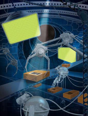 View futuristic tracking shipments mechanism - Fantastic scene Stock Photo