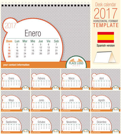 diary: Desk triangle calendar 2017 template. Size: 210mm x 150mm. Format A5.   Spanish version Illustration