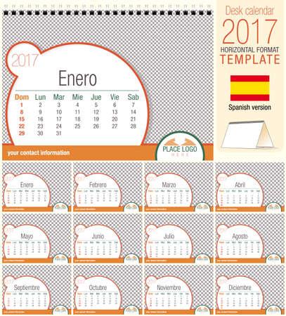 Desk triangle calendar 2017 template. Size: 210mm x 150mm. Format A5.   Spanish version Illustration