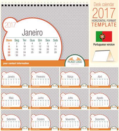 a5: Desk triangle calendar 2017 template. Size: 210mm x 150mm. Format A5.   Portuguese version Illustration