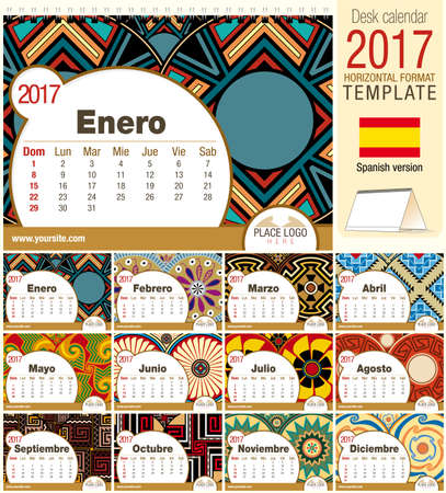 Desk triangle calendar 2017 template with native rosettes design. Size: 210mm x 150mm. Format horizontal.  Spanish version