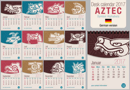 aztec calendar: Desk triangle calendar 2017 template with Aztec symbols design. Size: 150mm x 210mm. Format vertical.  German version