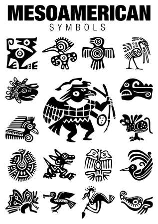 mesoamerican: Set of Mesoamerican Symbols in black color on white background