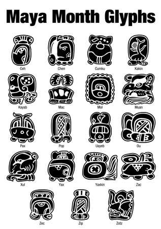 glyphs: Maya Month Glyphs in black color on white background