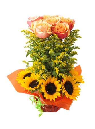 Floral arrangement with roses and sunflowers on white background Stock Photo