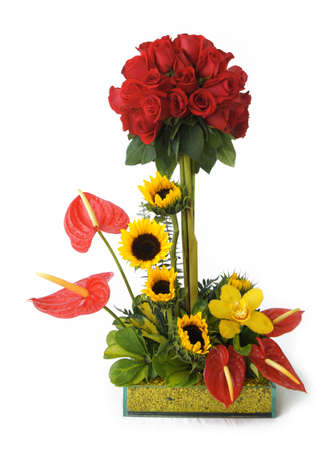 san valentin: Glass pot with colorful flowers on white background