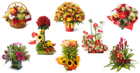 san valentin: Set of 8 floral arrangement with red roses and colorful flowers on white background Stock Photo