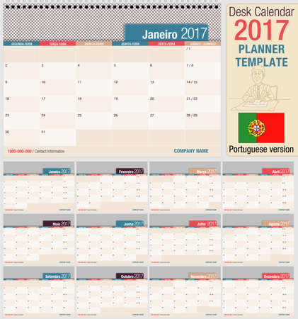 horizontal format horizontal: Useful desk calendar 2017 - Planner template. Format horizontal. Portuguese version
