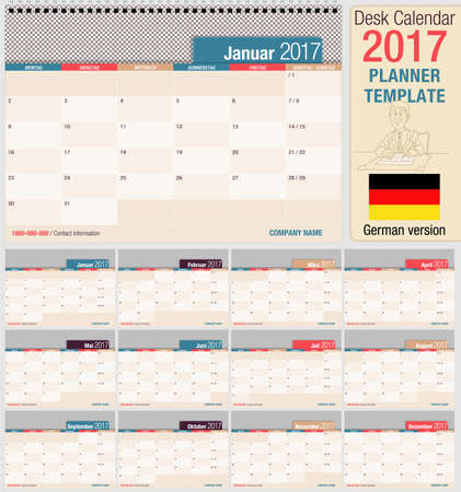 horizontal format horizontal: Useful desk calendar 2017 - Planner template. Format horizontal. German version Illustration
