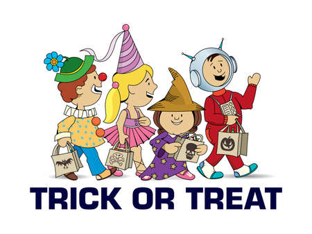 Trick or treat - Children walking asking for candy - Halloween