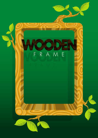 a4 borders: Thick wooden frame with branches and leaves on green background. Size: 210mm x 297mm Illustration