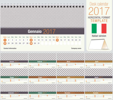 horizontal format horizontal: Useful desk triangle calendar 2017 template, ready for printing. Size: 220mm x 120mm. Format horizontal. Italian version