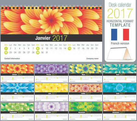 horizontal format horizontal: Desk triangle calendar 2017 template with abstract floral design, ready for printing. Size: 220mm x 120mm. Format horizontal. French version
