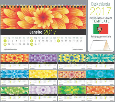 horizontal format horizontal: Desk triangle calendar 2017 template with abstract floral design, ready for printing. Size: 220mm x 120mm. Format horizontal. Portuguese version