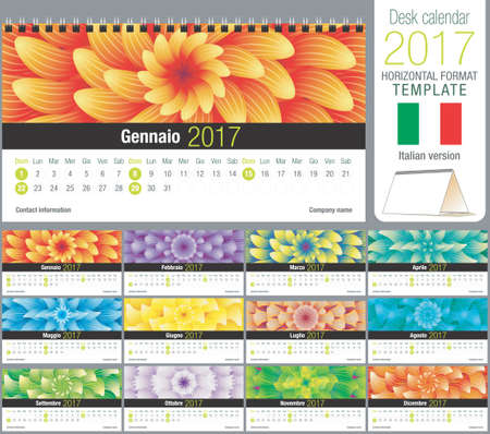 horizontal format horizontal: Desk triangle calendar 2017 template with abstract floral design, ready for printing. Size: 220mm x 120mm. Format horizontal. Italian version
