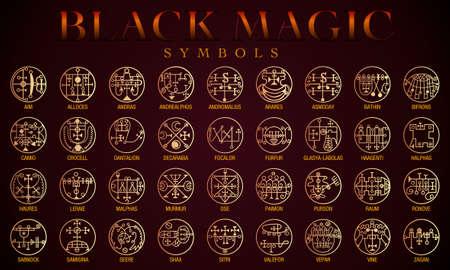 Set of Black magic Symbols. Black magic or Dark magic has traditionally referred to the use of supernatural powers or magic for evil and selfish purposes