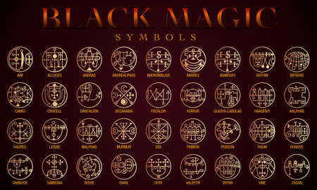 Set of Black magic Symbols. Black magic or Dark magic has traditionally referred to the use of supernatural powers or magic for evil and selfish purposes