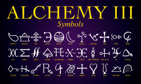 Set of Alchemy Symbols. It is an ancient practice shrouded in mystery and secrecy. Its practitioners mainly sought to turn lead into gold. Ilustração