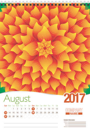 August wall calendar 2017 template with abstract floral design, ready for printing. Size: 297mm x 420mm. Format vertical. English version