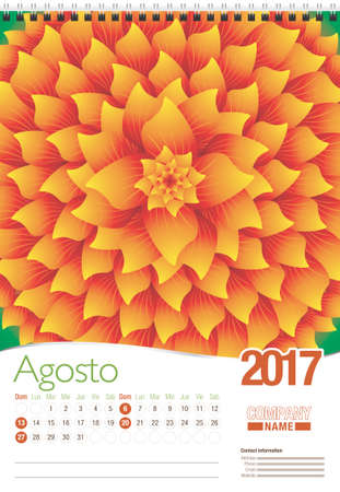 spanish language: Agosto -August in Spanish language- wall calendar 2017 template with abstract floral design, ready for printing. Size: 297mm x 420mm. Format vertical. Spanish version